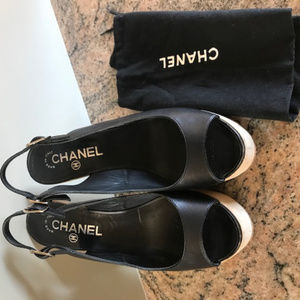 CHANEL Black Leather Open Toe Sandals